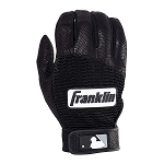 Franklin Sports Adult MLB Pro Classic Batting Gloves, Pair, Black/Black
