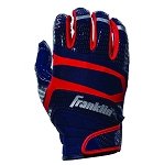 Franklin Sports Hi-Tack Premium Football Receiver Gloves - Navy/Red - Youth