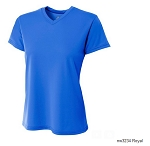 Women's Short Sleeve Royal Moisture Management V Neck Top