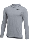 Nike Hyper Dry Long Sleeve Hooded Top In Wolf Grey