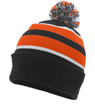 Beanie with pom pom and logo