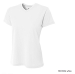 Women's Short Sleeve White Moisture Management V Neck Top